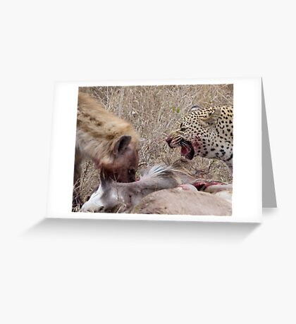 Hyena and Leopard Sharing Meal Greeting Card