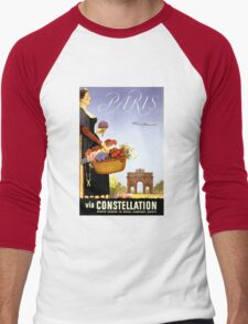 Paris Vintage Travel Poster Restored Men's Baseball ¾ T-Shirt