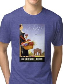 Paris Vintage Travel Poster Restored Tri-blend T-Shirt