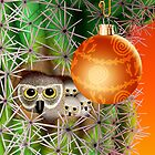 Christmas Owls In Saguaro by Jamie Rice