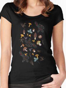 dark wild forest mushrooms Women's Fitted Scoop T-Shirt
