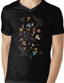 dark wild forest mushrooms Mens V-Neck T-Shirt
