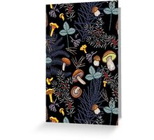 dark wild forest mushrooms Greeting Card