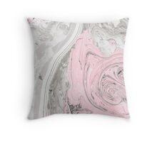 Suminagashi Love, Gray and Pink Throw Pillow
