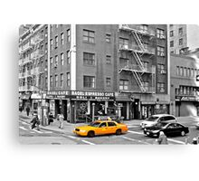 NYC Yellow Cabs Bagel Cafe Canvas Print