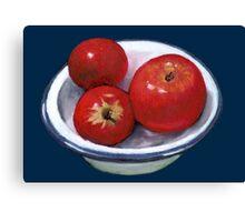 Red Apples in Old Enamel Bowl, Oil Pastel Canvas Print