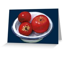 Red Apples in Old Enamel Bowl, Oil Pastel Greeting Card