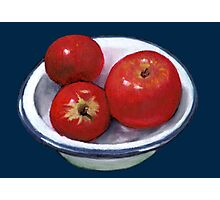 Red Apples in Old Enamel Bowl, Oil Pastel Photographic Print