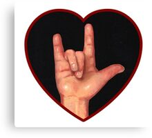 Hand Making Sign for I Love You, American Sign Language Canvas Print