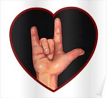 Hand Making Sign for I Love You, American Sign Language Poster