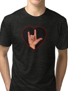 Hand Making Sign for I Love You, American Sign Language Tri-blend T-Shirt