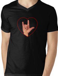 Hand Making Sign for I Love You, American Sign Language Mens V-Neck T-Shirt