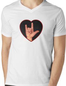 Hand Making Sign for I Love You, American Sign Language Mens V-Neck T-Shirt