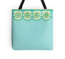 aqua + yellow lace Tote Bag