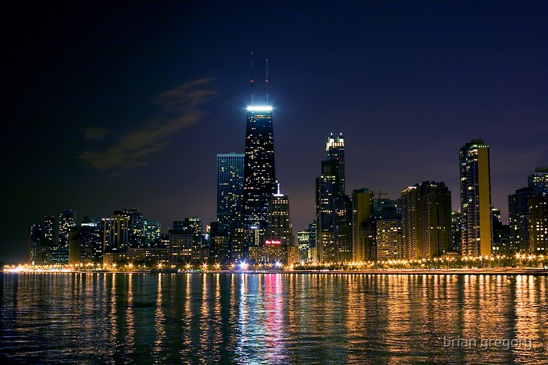 Quot Chicago Skyline At Night Quot By Brian Gregory Redbubble