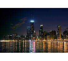 chicago skyline at night Photographic Print
