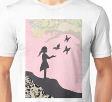Girl with Butterflies Unisex T-Shirt