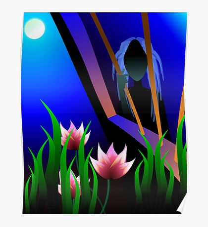 Beauty of dreaming girl in the moon light Poster
