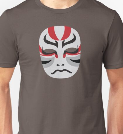 Japanese theatre KABUKI Mask in red and grey Unisex T-Shirt