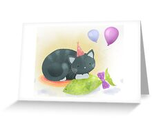 Floyd the cat's birthday party Greeting Card