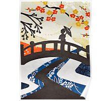 Geisha on Bridge Poster