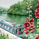 Hollyhocks near the River Seine by Ann Mortimer