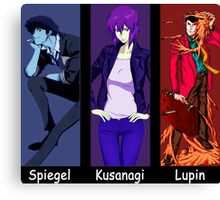 cowboy bebop ghost in the shell lupin the 3rd spike spiegel motoko kusanagi anime manga shirt Canvas Print