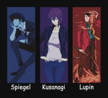 cowboy bebop ghost in the shell lupin the 3rd spike spiegel motoko kusanagi anime manga shirt by ToDum2Lov3