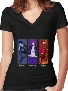 cowboy bebop ghost in the shell lupin the 3rd spike spiegel motoko kusanagi anime manga shirt Women's Fitted V-Neck T-Shirt