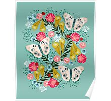 Buckeye Butterly Florals by Andrea Lauren  Poster