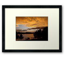 Rainy Lake Sunset Framed Print