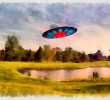 UFO On Golf Course by Raphael Terra by esotericaart