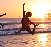 3 Ladies Leaping into the Sunset by Ray Schiel