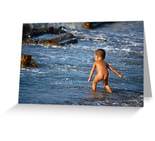 Child Playing with water Greeting Card