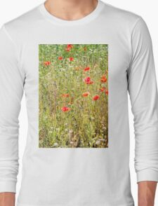 Red Poppies and Wild Flowers Long Sleeve T-Shirt