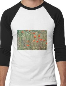 Red Poppies In A Summer Sun Men's Baseball ¾ T-Shirt