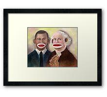George Washington and Obama as Sock Monkeys Framed Print