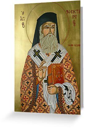 "Saint Nectarios ""Greek Icon"" by Marinella  Owens"