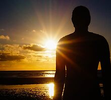 Iron Man at Sunset, Crosby Beach by Beverley Goodwin