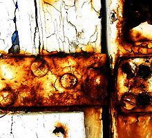 Rusty, broken padlock hinge by buttonpresser