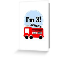 3rd birthday fire truck geek funny nerd Greeting Card