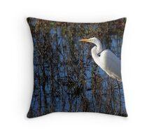 Egret in Solitude Throw Pillow