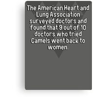 The American Heart and Lung Association surveyed doctors and found that 9 out of 10 doctors who tried Camels went back to women.  Canvas Print