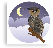 Horned Owl on a Branch Canvas Print