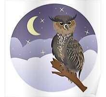 Horned Owl on a Branch Poster