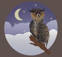 Horned Owl on a Branch One Piece - Short Sleeve