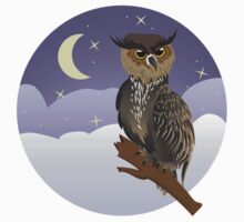 Horned Owl on a Branch One Piece - Long Sleeve
