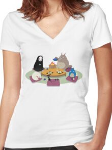 Studio Ghibli Tea Time Women's Fitted V-Neck T-Shirt