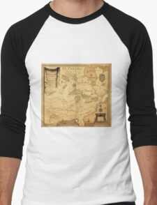 French Map of North America by Jean Baptiste Louis Franquelin (1685) Men's Baseball ¾ T-Shirt