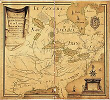 French Map of North America by Jean Baptiste Louis Franquelin (1685) Photographic Print
